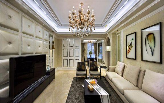 客厅米色背景墙欧式风格装潢图片