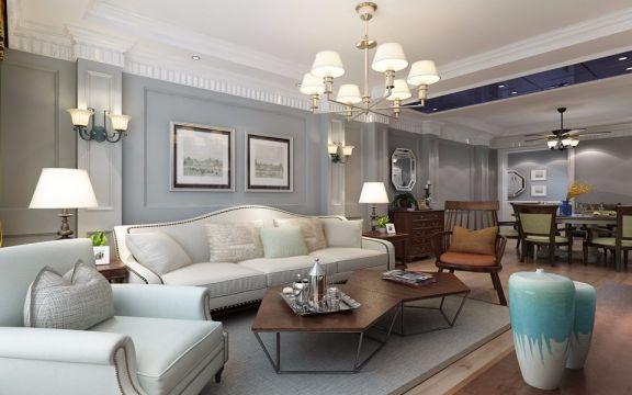 客厅米色吊顶美式风格装修设计图片