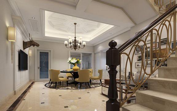 客厅米色楼梯简欧风格装修设计图片