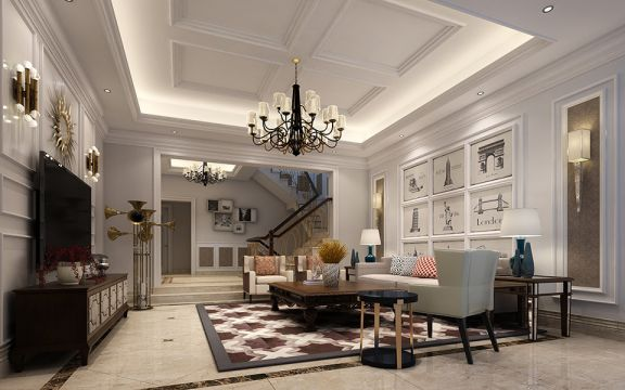 客厅米色沙发简欧风格装修效果图