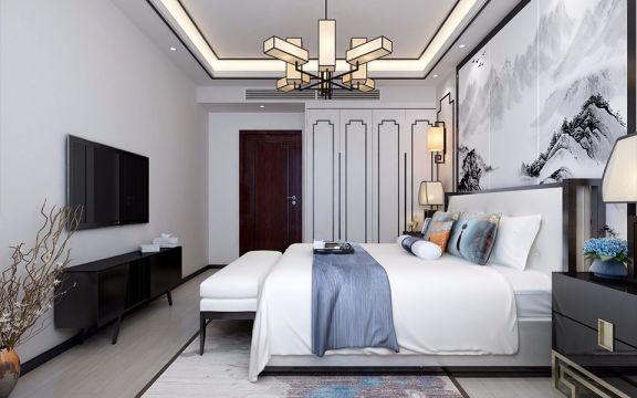 卧室白色床新中式风格装潢图片