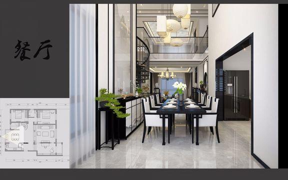 餐厅白色餐桌新中式风格装修设计图片