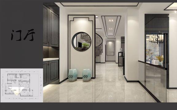 玄关白色门厅新中式风格装潢设计图片