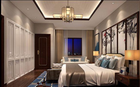 卧室咖啡色床新中式风格效果图