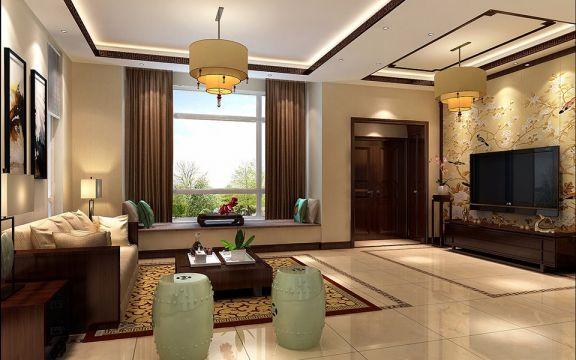 客厅咖啡色背景墙新中式风格装饰效果图