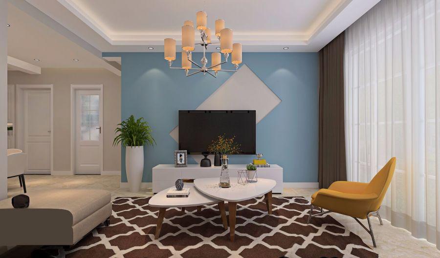 奢华大气白色客厅装潢效果图