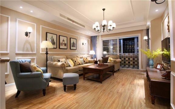 客厅米色茶几简欧风格装饰图片