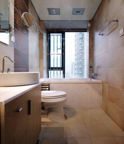 卫生间米色隔断现代简约风格装潢效果图