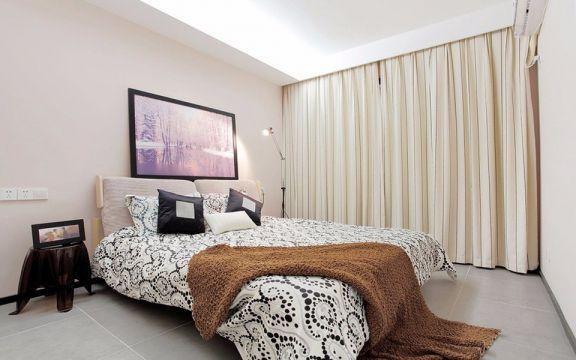 卧室白色窗帘现代风格装修设计图片