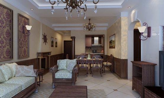 客厅彩色照片墙美式风格效果图