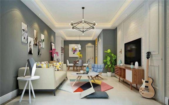 禹州荷园三居室现代风格80平米装修效果图