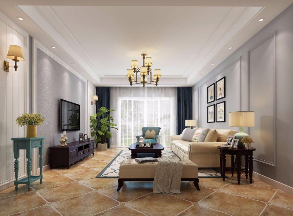 128平米美式三室两卫两厅装修效果图