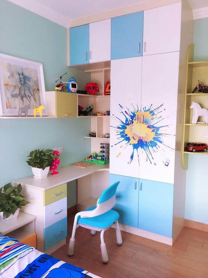 儿童房背景墙混搭风格装修设计图片