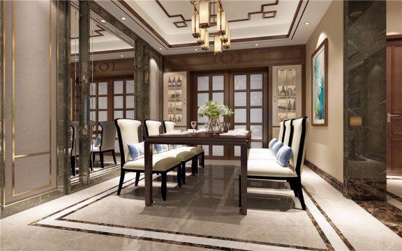 餐厅餐桌现代中式风格装修效果图