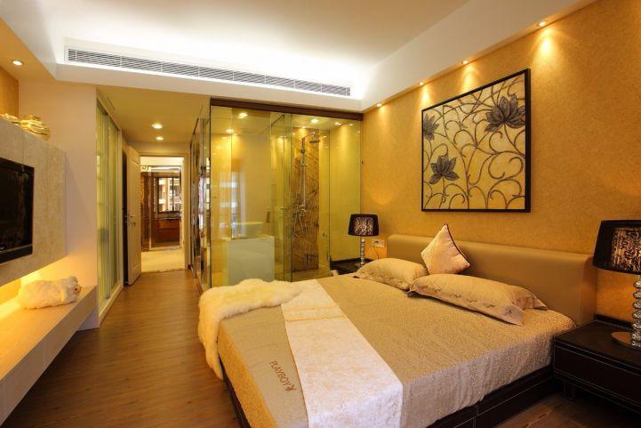 卧室米色隐形门设计效果图