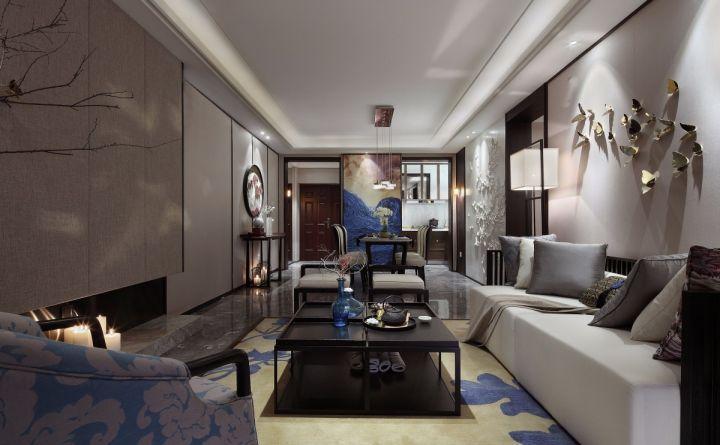 绿地城新中式风格85平米三居室装修效果图