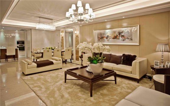 菲呢克斯国际公寓欧式风格130平三室两厅一卫装修效果图