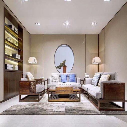 古朴客厅实木沙发装修案例图片