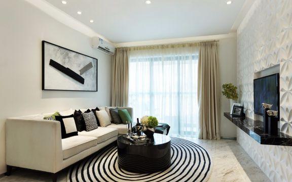 澳丽嘉园现代风格三居室80平方装修效果图