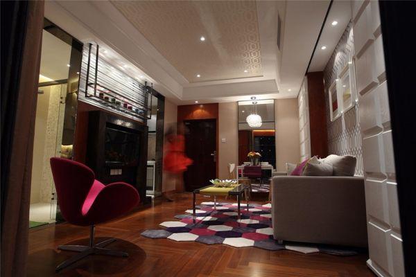 南京德基紫金南苑50平米现代简约风格二居室装修效果图