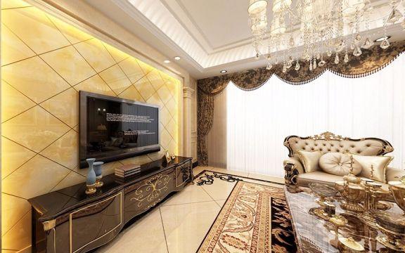 客厅黑色电视柜欧式风格装修图片