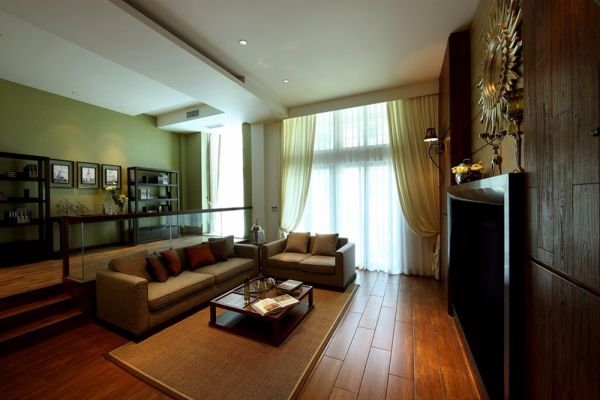 南京亚东城130平米中式风格三居室装修效果图
