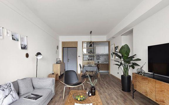 天山龙玺77平米一居室北欧风格装修效果图