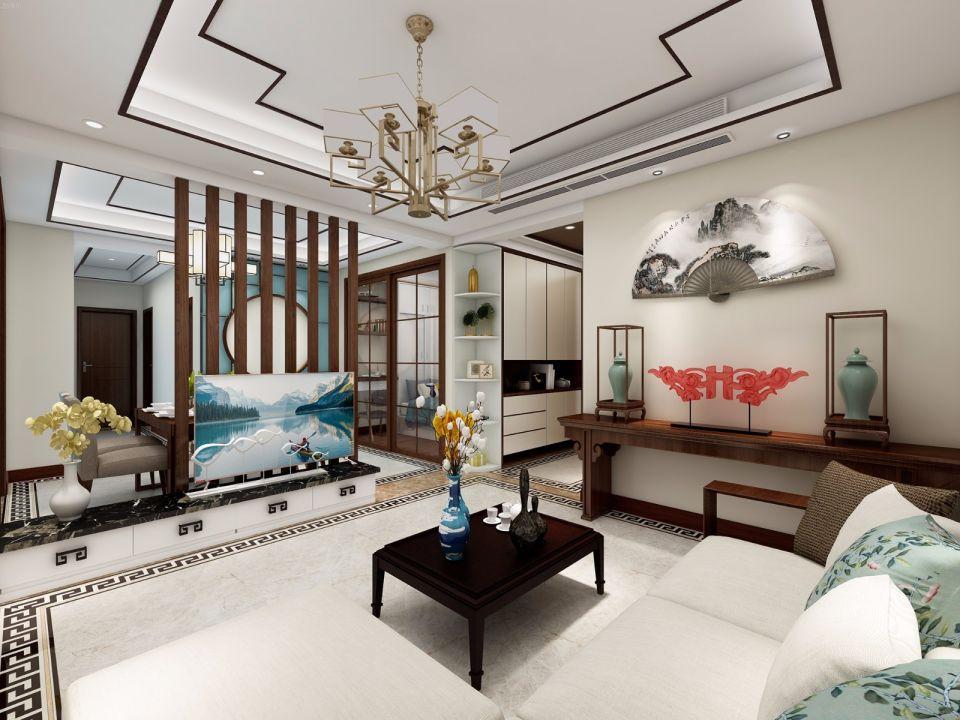 110平米两室一厅新中式风格小户型装修效果图