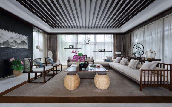 万达小区110平方中式风格三居室效果图