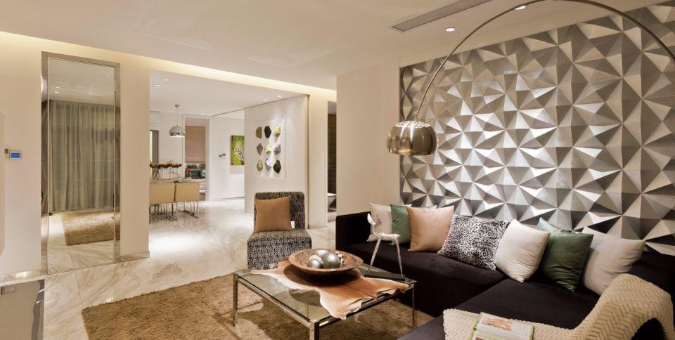 昊天园120平现代简约三居室装修效果图
