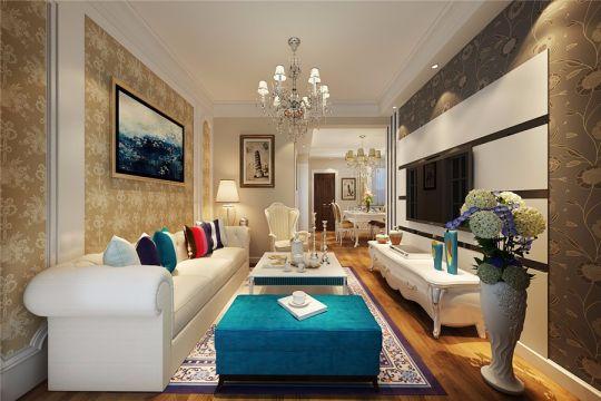 信地华地城美式风格90平米三居室装修效果图