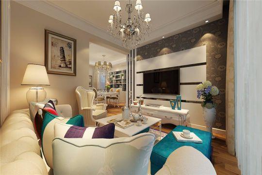 客厅窗台美式风格装潢设计图片