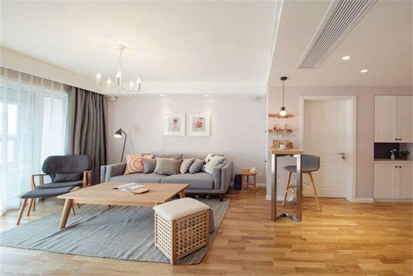 客厅地板砖现代简约风格装潢图片