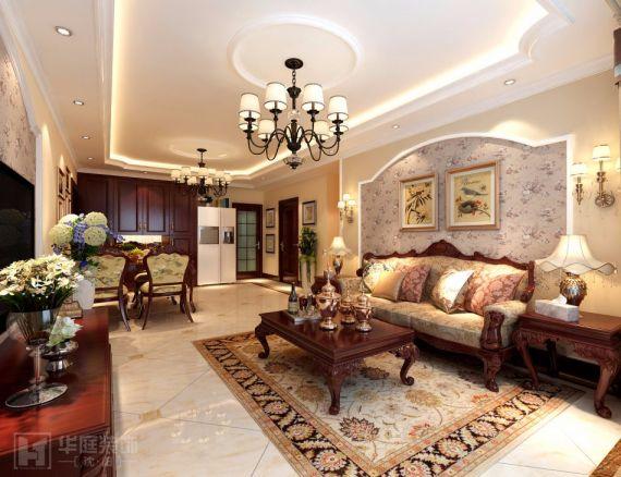 中海城130平欧式风格三居室装修效果图