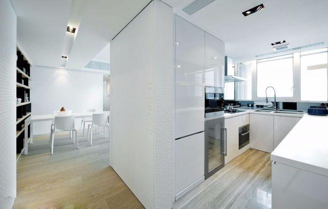 淡雅白色厨房墙面效果图