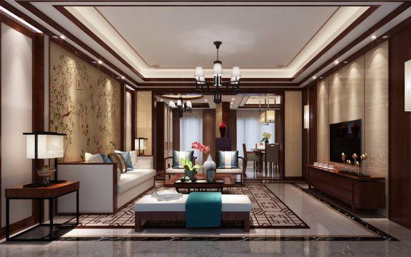 东江首府150平方大户型中式风格装修效果图