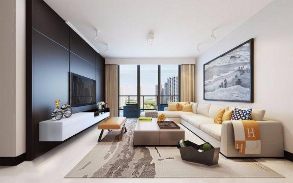 领航80平方三室一厅现代风格装修效果图