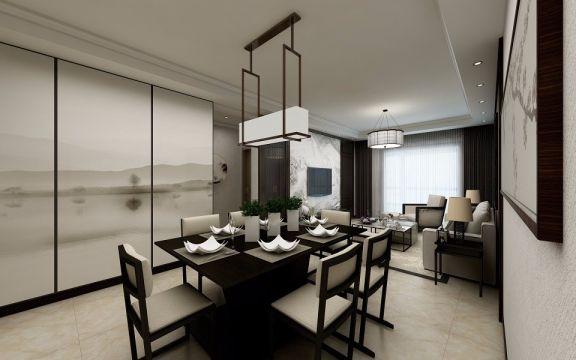 升龙城86平新中式风格2室1厅装修效果图