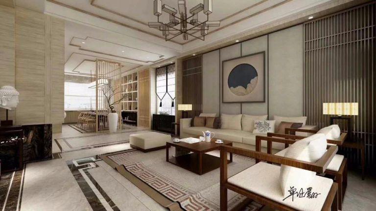 绿地国博城 新中式风格350平别墅装修效果图