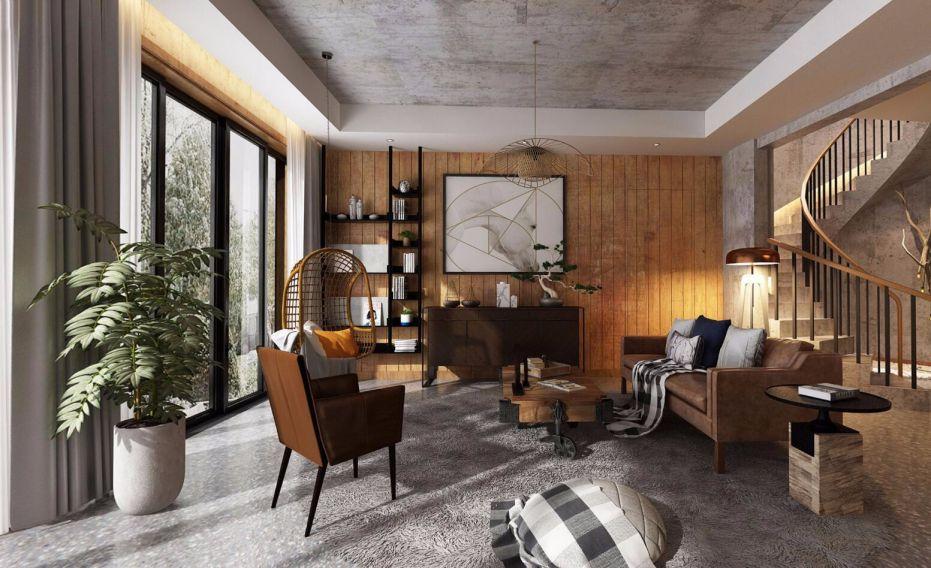 客厅背景墙现代家装设计图