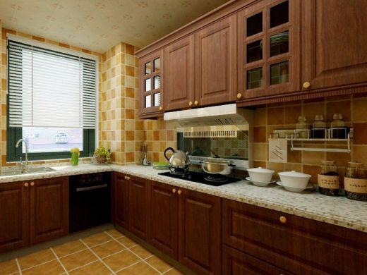 眩亮厨房墙面美式装修图