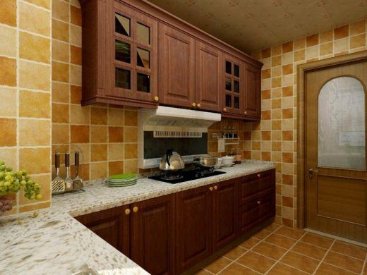 厨房墙面橱柜美式装修美图