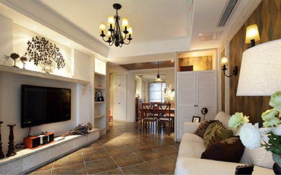 日出印象70平两室两厅美式装修效果图