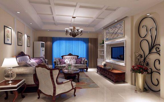 梧桐壹号90平米两居室欧式风格装修效果图