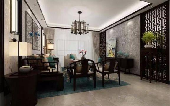 8万74平米新中式风格2居室装修效果图