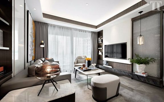 白云小区120平现代风格两居室装修效果图