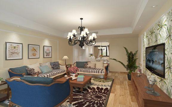 金地酩悦休闲美式风格4居室120平米装修效果图
