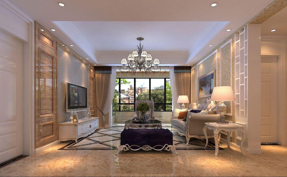 客厅背景墙美式装潢效果图