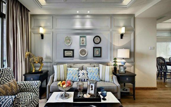 世家別院115平美式風格三居室裝修效果圖