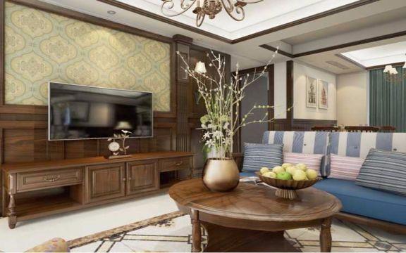 客厅咖啡色背景墙美式风格装修图片